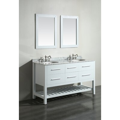 Cockrell 60 Double Bathroom Vanity Set with Mirror Base Finish: White
