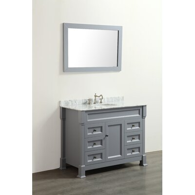 Rutland 43 Single Bathroom Vanity Set with Mirror Base Finish: Grey