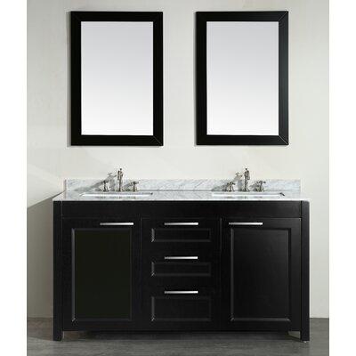 60 Double Bathroom Vanity Set with Mirror Base Finish: Black