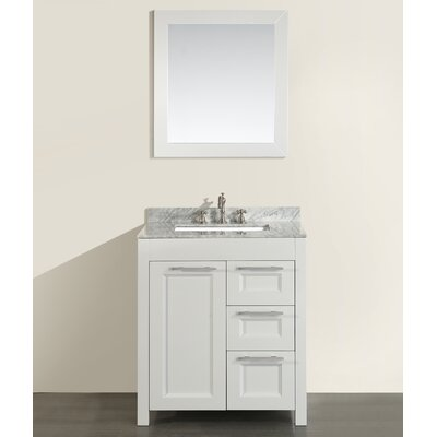30 Single Bathroom Vanity Set with Mirror Base Finish: White