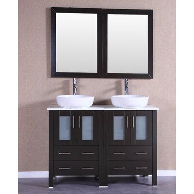 48 Double Vanity Set with Mirror Base Finish: Espresso
