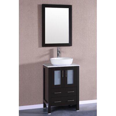 24 Single Vanity Set with Mirror Base Finish: Espresso