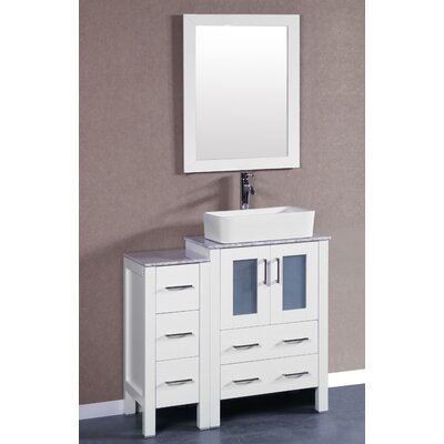 36 Single Vanity Set with Mirror Base Finish: White