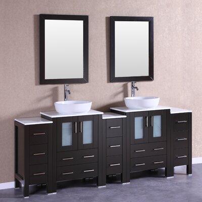 84 Double Vanity Set with Mirror Base Finish: Espresso