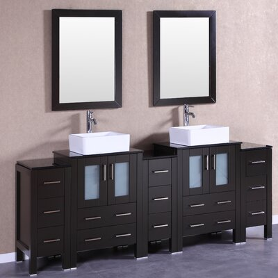 84 Double Vanity Set with Mirror Base Finish: Espresso