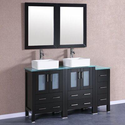 60 Double Vanity Set with Mirror Base Finish: Espresso