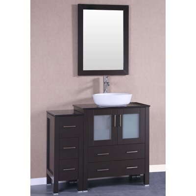 42 Single Vanity Set with Mirror Base Finish: Espresso