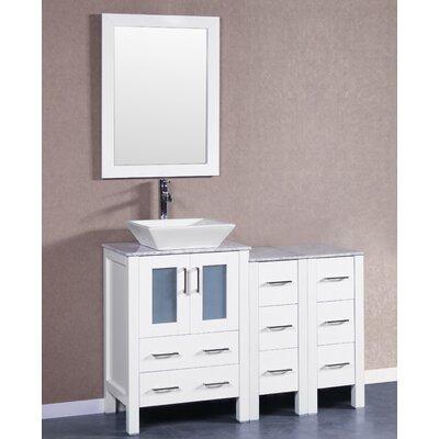 48 Single Vanity Set with Mirror Base Finish: White