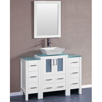48 Single Vanity Set with Mirror Base Finish: White