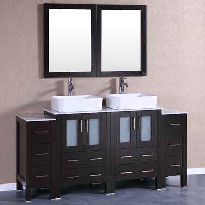 72 Double Vanity Set with Mirror Base Finish: Espresso