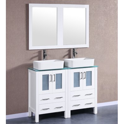 48 Double Vanity Set with Mirror Base Finish: White