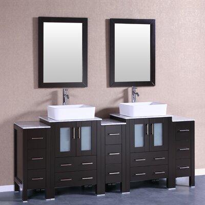 84 Double Vanity Set with Mirror Base Finish: White