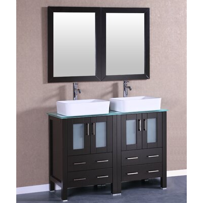 48 Double Vanity Set with Mirror Base Finish: Espresso