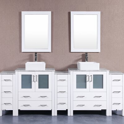 96 Double Vanity Set with Mirror Base Finish: White