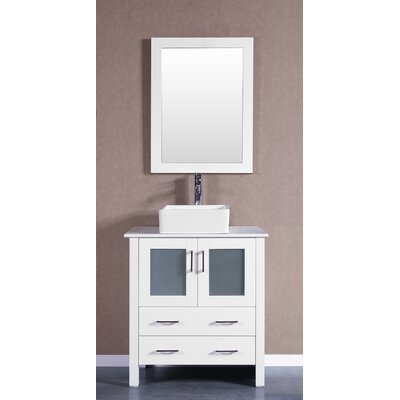 30 Single Vanity Set with Mirror Base Finish: White