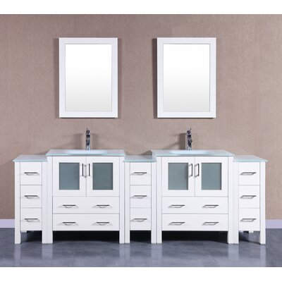 96 Double Vanity Set with Mirror Base Finish: White