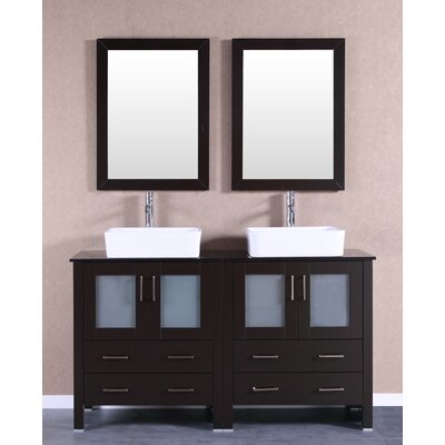 60 Double Vanity Set with Mirror Base Finish: Espresso