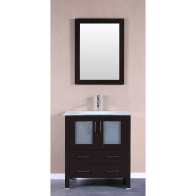 30 Single Vanity Set with Mirror Base Finish: Espresso