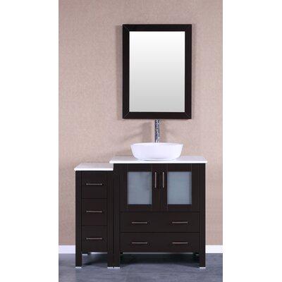 42 Single Vanity Set with Mirror Base Finish: Espresso