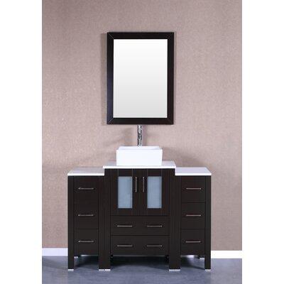 48 Single Vanity Set with Mirror Base Finish: Espresso