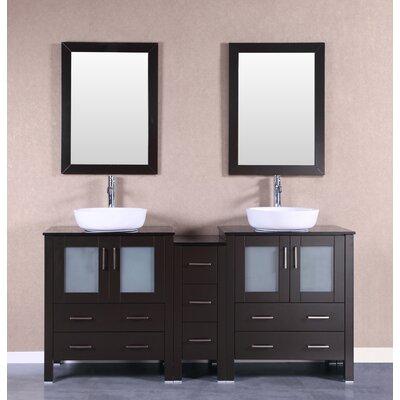 72 Double Vanity Set with Mirror Base Finish: Espresso