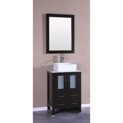 24 Single Vanity Set with Mirror Base Finish: Espresso