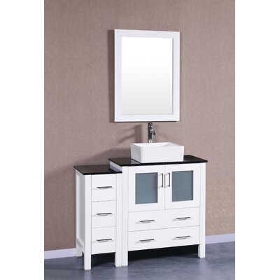 42 Single Vanity Set with Mirror Base Finish: White