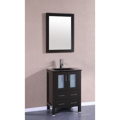 Nevitt 24 Single Vanity Set with Mirror Base Finish: Espresso