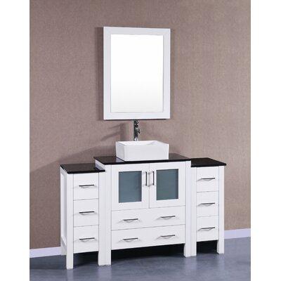 54 Single Vanity Set with Mirror Base Finish: White