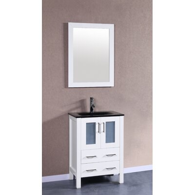 Nevitt 24 Single Vanity Set with Mirror Base Finish: White