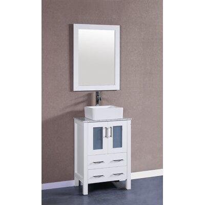 24 Single Vanity Set with Mirror Base Finish: White