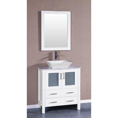 30 Single Vanity Set with Mirror Base Finish: White