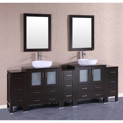 96 Double Vanity Set with Mirror Base Finish: Espresso