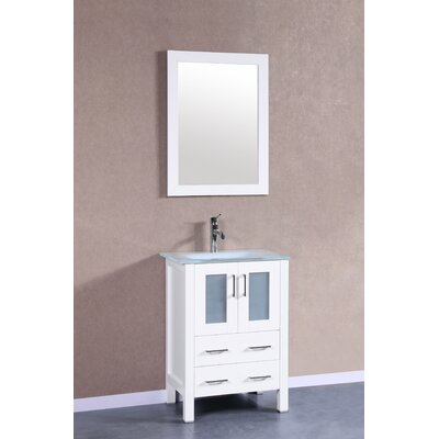 24 Single Vanity Set with Mirror Base Finish: White