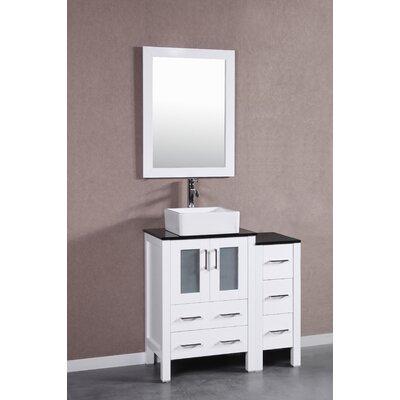 36 Single Vanity Set with Mirror Base Finish: White