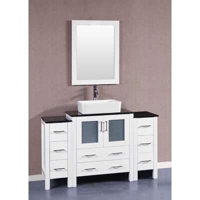 54 Single Vanity Set with Mirror Base Finish: White