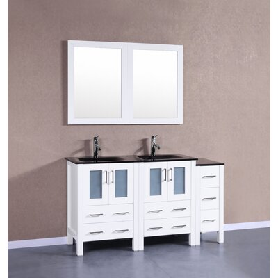 60 Double Vanity Set with Mirror Base Finish: White