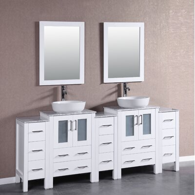 84 Double Vanity Set with Mirror Base Finish: White