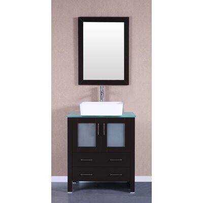 30 Single Vanity Set with Mirror Base Finish: Espresso