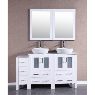60 Double Vanity Set with Mirror Base Finish: White