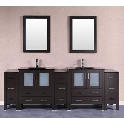 96 Double Vanity Set with Mirror Base Finish: Espresso