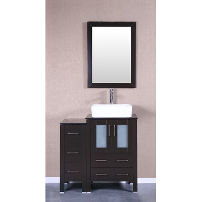 36 Single Vanity Set with Mirror Base Finish: Espresso