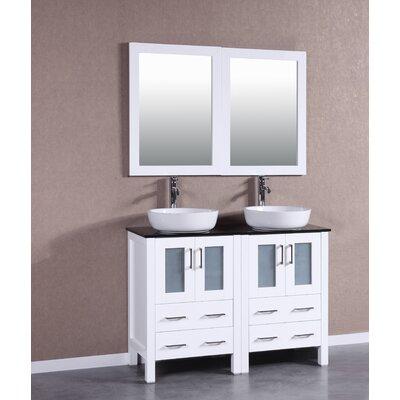 48 Double Vanity Set with Mirror Base Finish: White