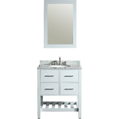 Cockrell 30 Single Bathroom Vanity Set with Mirror Base Finish: White
