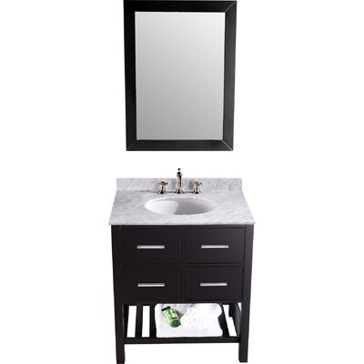 Cockrell 30 Single Bathroom Vanity Set with Mirror Base Finish: Black
