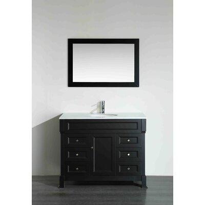 43.3 Single Bathroom Vanity Set with Mirror Base Finish: Black