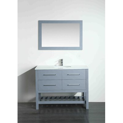 43.3 Single Bathroom Vanity Set with Mirror Base Finish: Gray