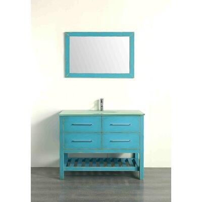 43.3 Single Bathroom Vanity Set with Mirror Base Finish: Distressed Sea Foam Green