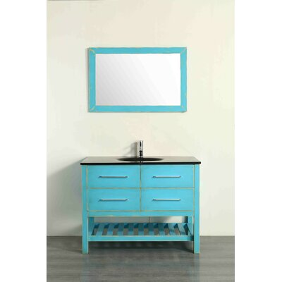 43.3 Single Bathroom Vanity Set with Mirror Base Finish: Distressed Sea Foam Green