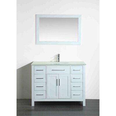 43.3 Single Bathroom Vanity Set with Mirror Base Finish: White